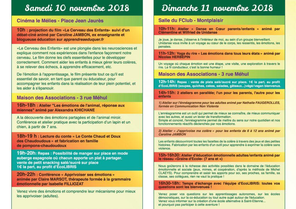 Programme des Journées des Educations Heureuses les 10 et 11 novembre 2018
